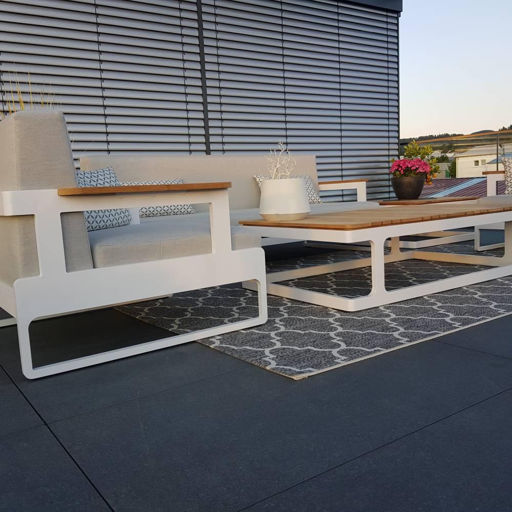 salon de jardin salon de jardin Cassis aluminium Teck blanc