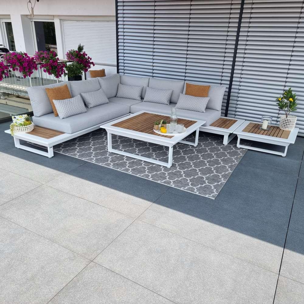 Gartenlounge Gartenmöbel Cannes Aluminium Teak weiß Lounge Modul Set  alu