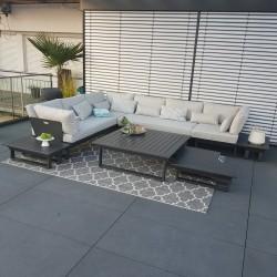 Gartenlounge Gartenmöbel  Lounge Set Menton Aluminium Anthrazit modular modul, luxus exclusiv Rundecke