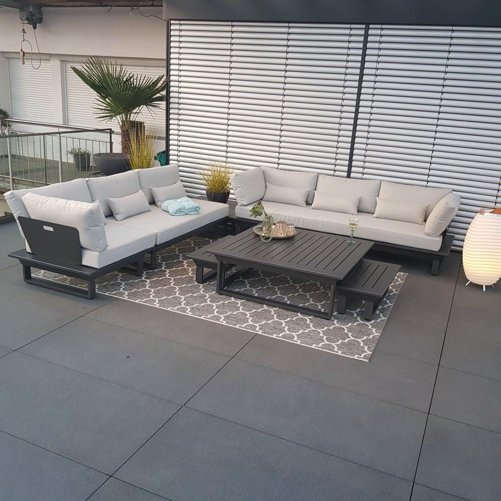Gartenlounge Set Gartenmöbel Menton Aluminium Anthrazit Rundecke Modul Luxus exclusiv outdoor