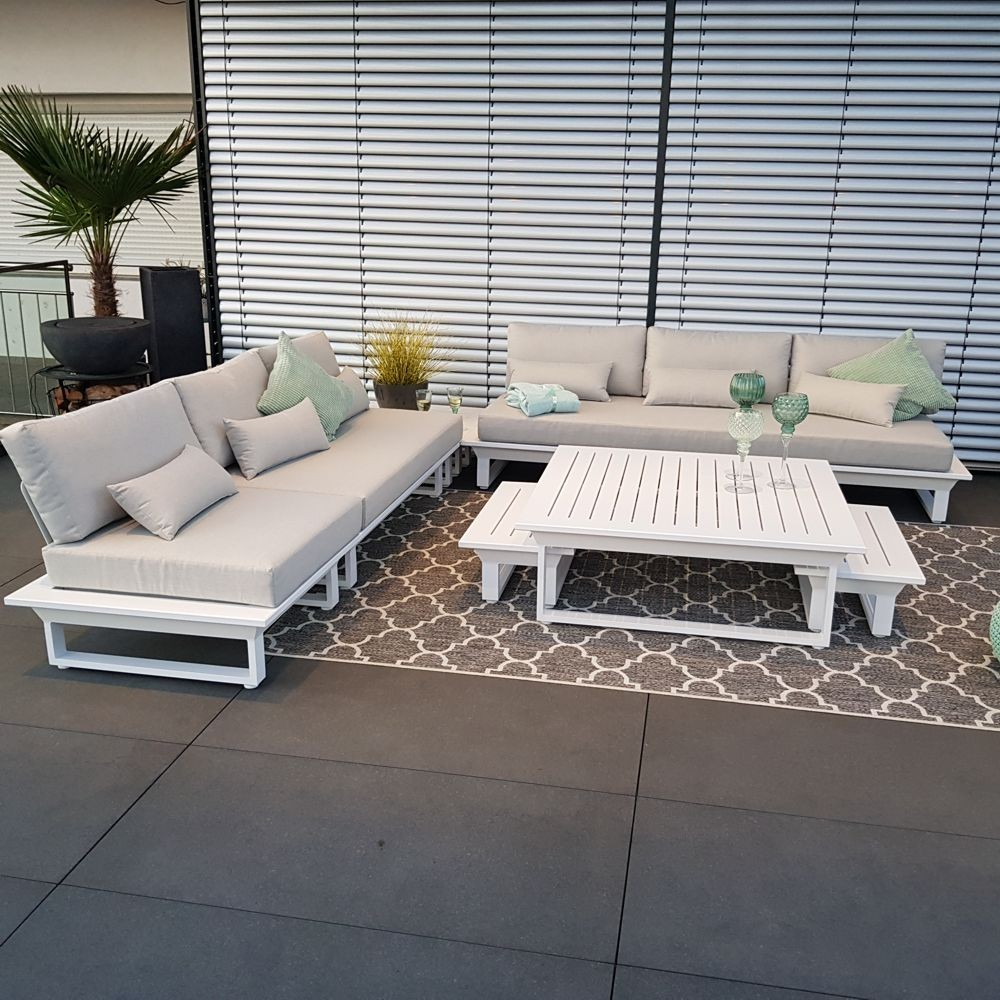 Gartenlounge Gartenmöbel Menton Aluminium weiß Lounge Modul Set