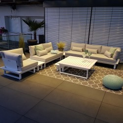 Gartenlounge Gartenmöbel  Lounge Set Menton Aluminium weiß Lounge Modul exclusiv luxus