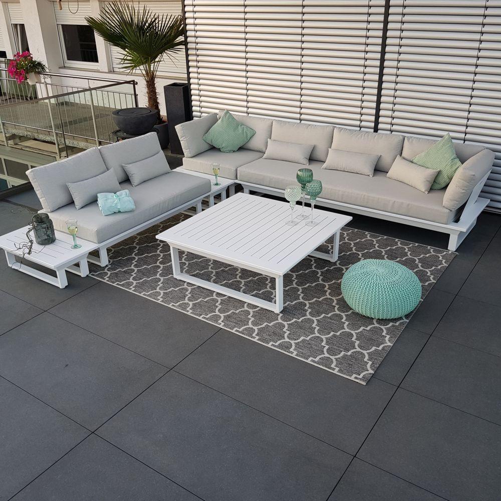 Salon de jardin mobilier de jardin St. Tropez aluminium module de salon blanc ensemble canapé extérieur coin rond