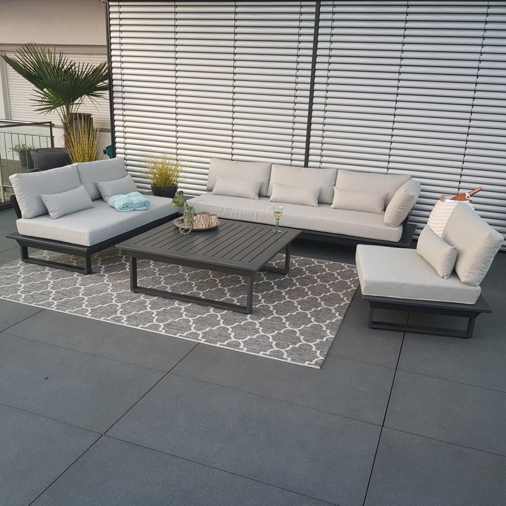 Garden lounge set muebles de jardín St.Tropez aluminio antracita módulo de esquina redonda lujo exclusivo alu exterior