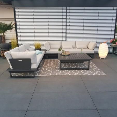 Garden lounge garden furniture lounge set St.Tropez aluminum anthracite modular module, luxury exclusive round corner Lounge set