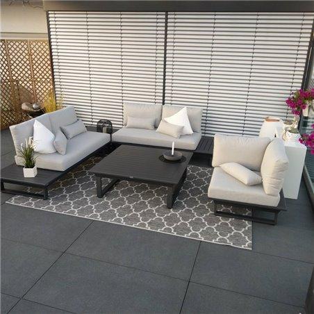 ICM Gartenlounge Gartenmöbel  Grenoble Aluminium alu Anthrazit lounge set modul