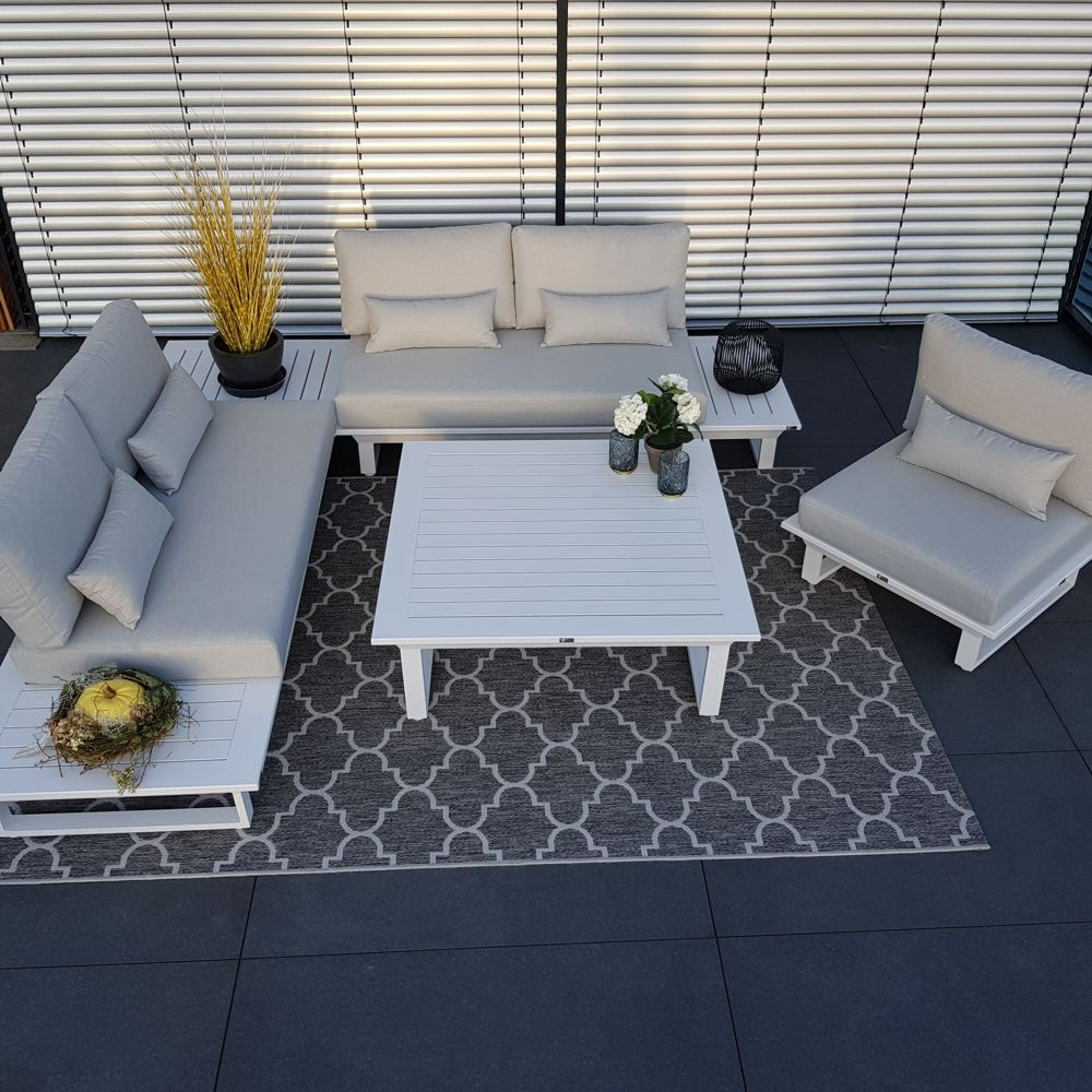 ICM Gartenlounge Outdoormöbel Grenoble Aluminium modul Anthrazit luxus set gartenmöbel